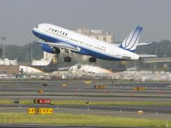 A United Airbus A320 passenger plane takes off at Newark Liberty International airport on August 11.