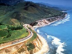 Amtrak's Coast Starlight hugs the shoreline in Santa Barbara County, Calif.