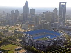 Bank of America Stadium stands out in the skyline of downtown Charlotte.