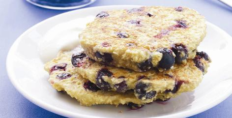 Blueberry oat pancakes with maple yogurt are featured in 'The CarbLovers Diet' published by Oxmoor House.