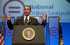 President Barack Obama speaks on education reform at the National Urban League 100th Anniversary Convention in Washington, D.C., July 29.