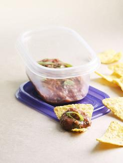 "Enjoy this bean dip with tortilla chips (preferably a ""baked"" or whole grain variety)."