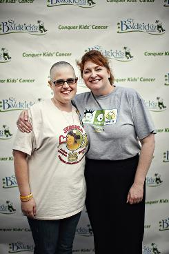Heide Randall and Kathleen Ruddy at the Shave for the Brave event in Los Angeles.