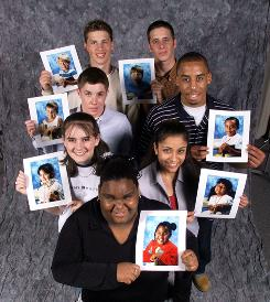 USA TODAY's Class of 2000 hold up their portraits taken in kindergarten as they're about to graduate high school in 2000. The class members, clockwise from top left, are Chad Jensen, David Earley, Matthew McCathorine, Marissa Schwartz, Chanelle Matthews, Lorrie Crizer, and Paul Sutusky.
