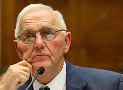 """The owner of Wright County Egg, Austin """"Jack"""" DeCoster, testifies during a hearing before the Oversight and Investigations Subcommittee of the House Energy and Commerce Committee Sept. 22."""