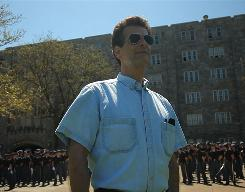 "Dean Kamen during the ""Building the Bionic Body"" episode of 'Dean of Invention' was at West Point Military Academy with cadets performing routines."