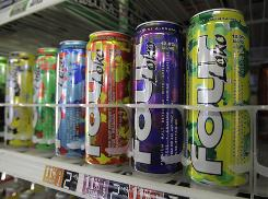 Cans of Four Loko are seen on display at a liquor store in Palo Alto, Calif., last month.