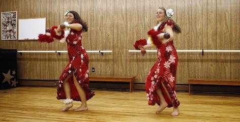 "Meagan Blanchette, right, practices Hawaiian dancing with her dance instructor Jennifer Nietupski at Judi T Dance Studio in Warwick, R.I. Blanchette dances 20 hours a week and participates in her school dance team in addition to gym exercises to help control her weight. ""If I hadn't lost the weight I wouldn't be half the dancer I am now,"" she says."