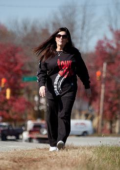 Exercise is key: Marci Williams walks during her lunch break. She plans to enter a mini triathlon next year.