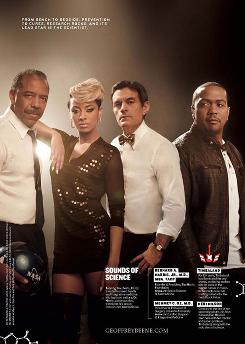 Timbaland, Keri Hilson, Bernard Harris and Mehmet Oz are featured in an ad for Rock Stars of Science, a philanthropic campaign by Geoffrey Beene Gives Back to support research funding as a national priority.