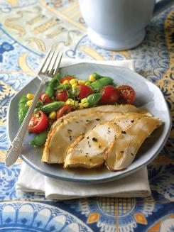 "Herb-roasted turkey from ""The Mediterranean Diabetes Cookbook"" by Amy Riolo. This plate -- heavy in protein and vegetables, not starches -- would be healthier for someone trying to keep weight off, studies suggest."