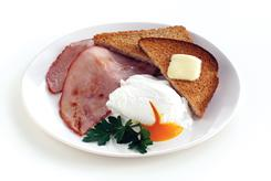 Under the new PointsPlus system, one poached egg, one slice of light whole-wheat toast with a pat of light butter, and 3 oz of lean ham equals 270 calories and is worth 6 points. A croissant and a pat of butter is also 270 calories but is assigned a higher value of 7.
