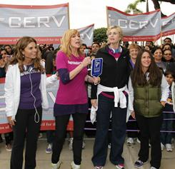 Maria Shriver, Leeza Gibbons, Jane Lynch and Soliel Moon Frye walk during the March on Alzheimer's on Oct. 24, part of Shriver's three-day Women's Conference in Long Beach, Calif.