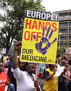 AIDS activists and people living with HIV march to the European Union's office in Nairobi, Kenya, Dec. 9, protesting a potential trade agreement between the EU and India that could see cheap generic drugs phased out.