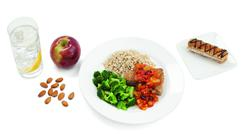 1,200 calories a day for women and 2,000 calories for men, with a focus on lean meat protein: fish, chicken, turkey and occasionally pork tenderloin and beef is reccomended.