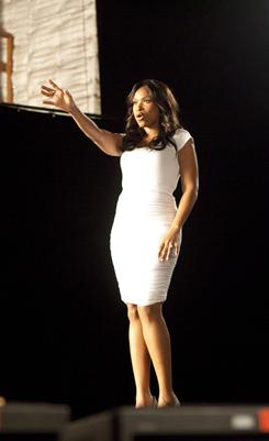 Jennifer Hudson shown during an advertising shoot for Weight Watchers.