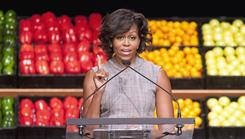 First lady Michelle Obama takes part in Wal-Mart's announcement of a comprehensive effort to provide healthier and more affordable food choices to their customers.