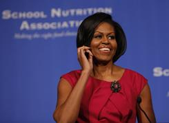 First lady Michelle Obama speaks to the School Nutrition Association Legislative Action Conference in Washington.