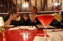 24-year-old Mary Catenacci (left) from South Pasadena, CA and her friend, Kathy Sato on a girls night out. The two admit to going out twice a week and consider themselves very sociable. A singles survey show that women are more inclined to want independence than men.