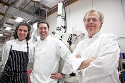 The authors of the cookbook Modernist Cuisine are shown in their test kitchen. From left Maxime Bilet, Chris Young, and Nathan Myhrvold.