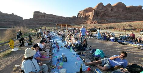 "The faithful turn out for an outdoor Seder in Moab, Utah, led by ""Adventure Rabbi"" Jamie Korngold of Boulder, Colo."