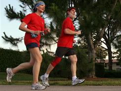 Bette and Sandy Baldwin jog on the trails of their retirement community in Boca Raton, Fla., four times weekly. Two days a week they lift weights and do conditioning excercises in their apartment.