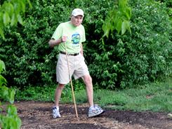 Two miles, five days a week: Gene Simonson, 86, takes a walk around his Magnolia Trace community in Huntsville, Ala.