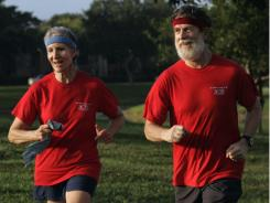 Bette and Sandy Baldwin jog on the trails of their retirement  community in Boca Raton, Fla.