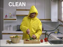 A video grab shows the 'clean' part of a new government campaign to raise awareness of safe food handling.