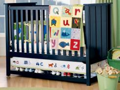 Bumpers are usually sold in bedding sets, often with matching quilts as shown here. This is an example of a recalled crib with a bumper.