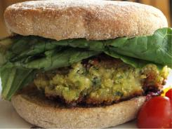 "Chickpea ""crabcake"" sandwich, a hearty meatless stand-in for the Chesapeake classic, from Kim O'Donnel's book, The Meat Lover's Meatless Cookbook."