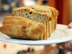 A loaf of gluten free, dairy free, egg free bread on display at Sweet NO Weat!
