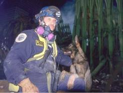 Handler Tony Zintsmaster and his search and rescue dog Kaiser work at Ground Zero hours after the attack.