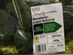A pack of Beneforte super broccoli is shown at a branch of Marks & Spencer in London.