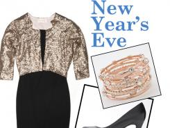 Bling in the New Year with a sequined bolero. Starshine bolero, $138, anthropologie.com; Simply Vera Vera Wang platform high heels, $70; kohls.com; R.J. Graziano Go Chic bangles, $60 for set of 10, hsn.com. Styling by Jacquie Hannah, T.H.E. Artist Agency