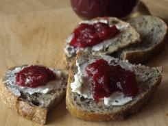 Cranberry relish & goat cheese crostini.