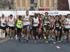 Runners start the Philadelphia Marathon, Sunday, Nov. 20, 2011, in Philadelphia.