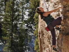 """39 weeks pregnant, Carrie Cooper topropes Mr. Slate 10b at the """"Pit"""" near Flagstaff, AZ"""