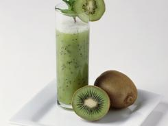 Kiwi mint lemonade is made with the strained syrup of kiwifruit.