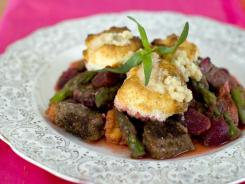 This Valentine's Day surf and turf cobbler is thickened with a sweet puree of beets, instead of the usual butter, cream and flour.