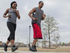 April Lee and her husband, John, go for a run in Cypress, Texas. Findings from the National Weight Control Registry, a group of 10,000 people, mostly women, show that successful dieters adopt healthy habits.