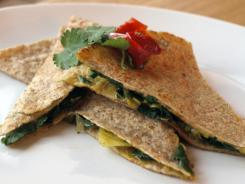 Beets and greens quesadillas by Kim O'Donnel.