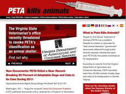 The Center for Consumer Freedom says PETA killed 1,965 of 2,050 animals in 2011.