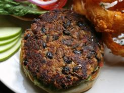 Vegetarian black bean burgers is a meatless dish available at Chatham Tap in Indianapolis.