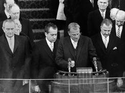 From left, Lyndon B. Johnson, Richard Nixon, Billy Graham and Spiro  Agnew at the inaugural podium in 1969.