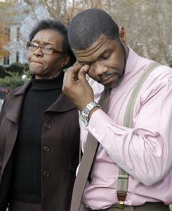 Anthony Tisdale, right, father of Delvonte Tisdale, and his mother, Lula Smith, discuss Delvonte's death Nov. 23 in Charlotte.