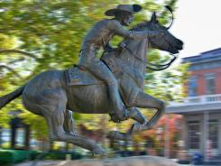 A bronze statue of a Pony Express rider marks the final stop of the famous fast-mail route in Sacramento, Calif.